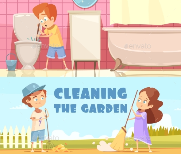 Kids Cleaning Cartoon Banners Set - People Characters