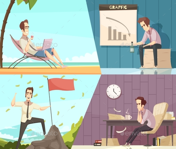 Business Success Failure Cartoon Banners - Business Conceptual