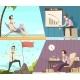 Business Success Failure Cartoon Banners