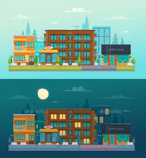 GraphicRiver Street Day Night Banners Set 20497381