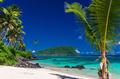 Panorama of vibrant tropical Lalomanu beach on Samoa Island with