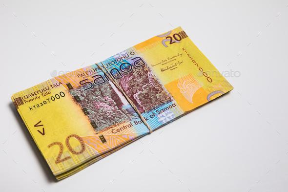 Samoa Tala bank notes isolated