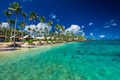 Tropical beach with with coconut palm trees and villas on Samoa - PhotoDune Item for Sale