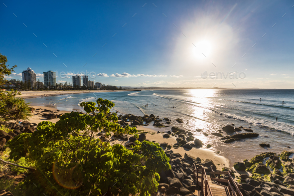 Greenmount beach during sunset on Queensland's Gold Coast, Austr - Stock Photo - Images