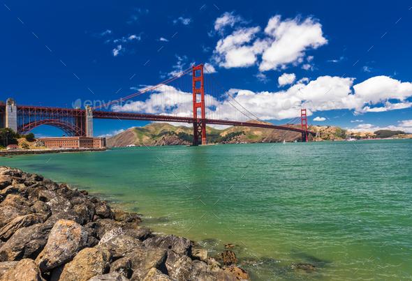 Panoramic shot of Golden Gate Bridge in San Francisco, Californi - Stock Photo - Images