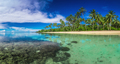 Tropical beach on Samoa Island with palm trees - PhotoDune Item for Sale