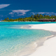 Over water villas in Maldives and a white beach with palm trees - PhotoDune Item for Sale