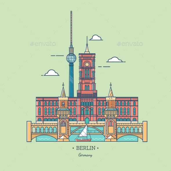 Banner of Berlin City in Line Trendy style.Travel - Buildings Objects