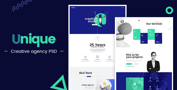 Unique - Creative Agency Landing Page PSD - Creative PSD Templates