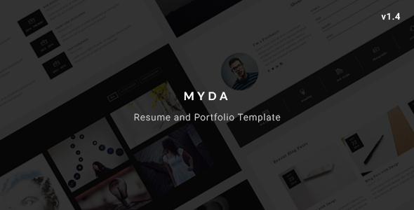 MYDA - Personal Resume and Portfolio Template - Virtual Business Card Personal