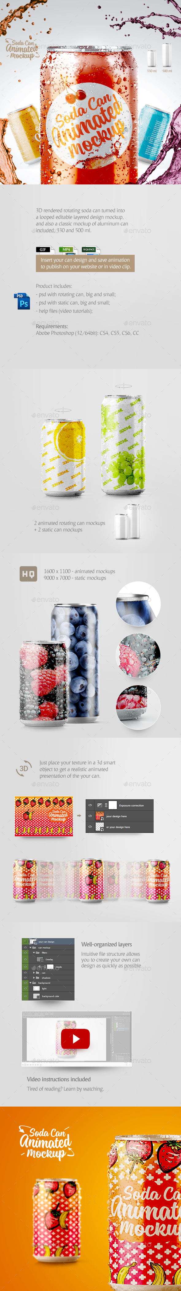 Soda Can Animated Mockup - Food and Drink Packaging
