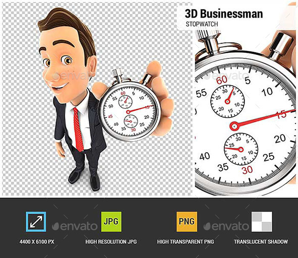 3D Businessman Holding a Stopwatch - Characters 3D Renders