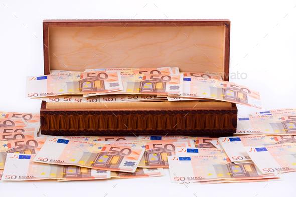Box full of European money