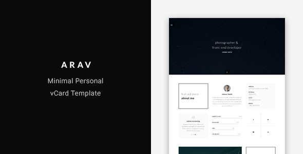 Arav - Minimal Personal vCard Template - Virtual Business Card Personal