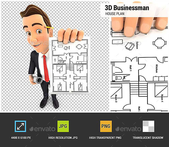 GraphicRiver 3D Businessman Holding House Plan 20497955