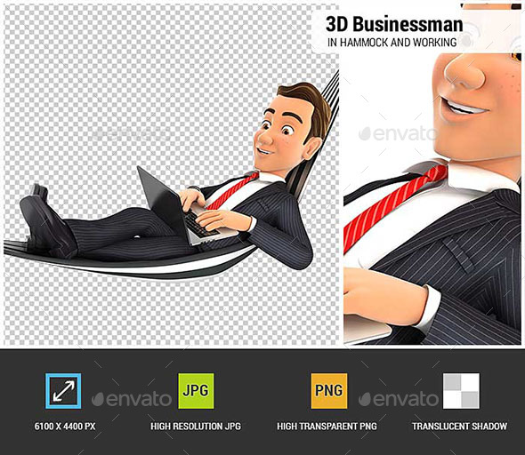3D Businessman Lying in Hammock and Working on Laptop - Characters 3D Renders