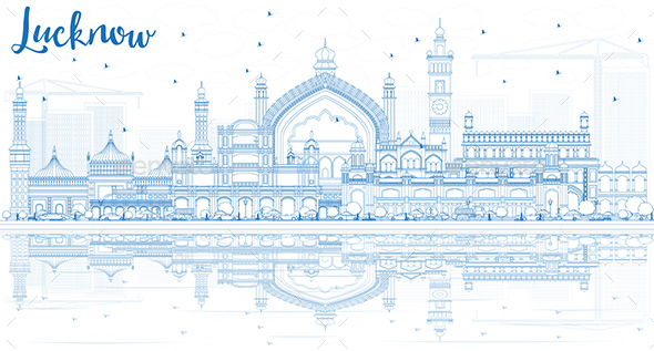 Outline Lucknow Skyline with Blue Buildings and Reflections - Buildings Objects
