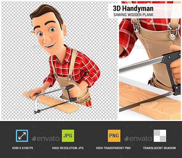 3D Handyman Sawing Wooden Plank - Characters 3D Renders