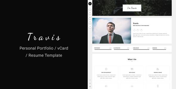 Travis - Personal Portfolio / vCard / Resume Template