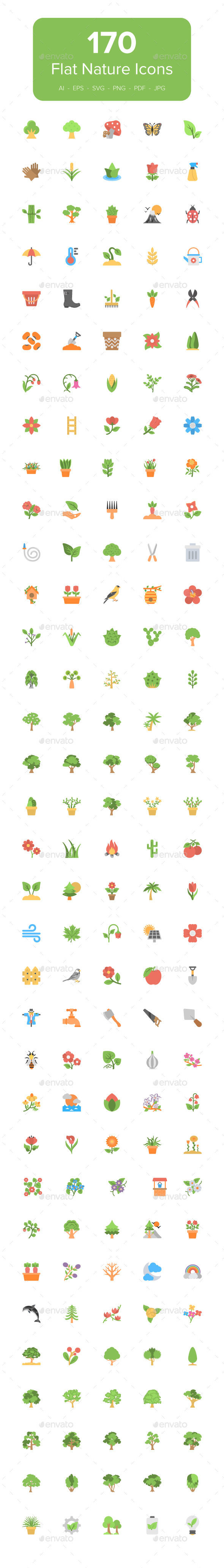 GraphicRiver 170 Flat Nature Icons 20498183
