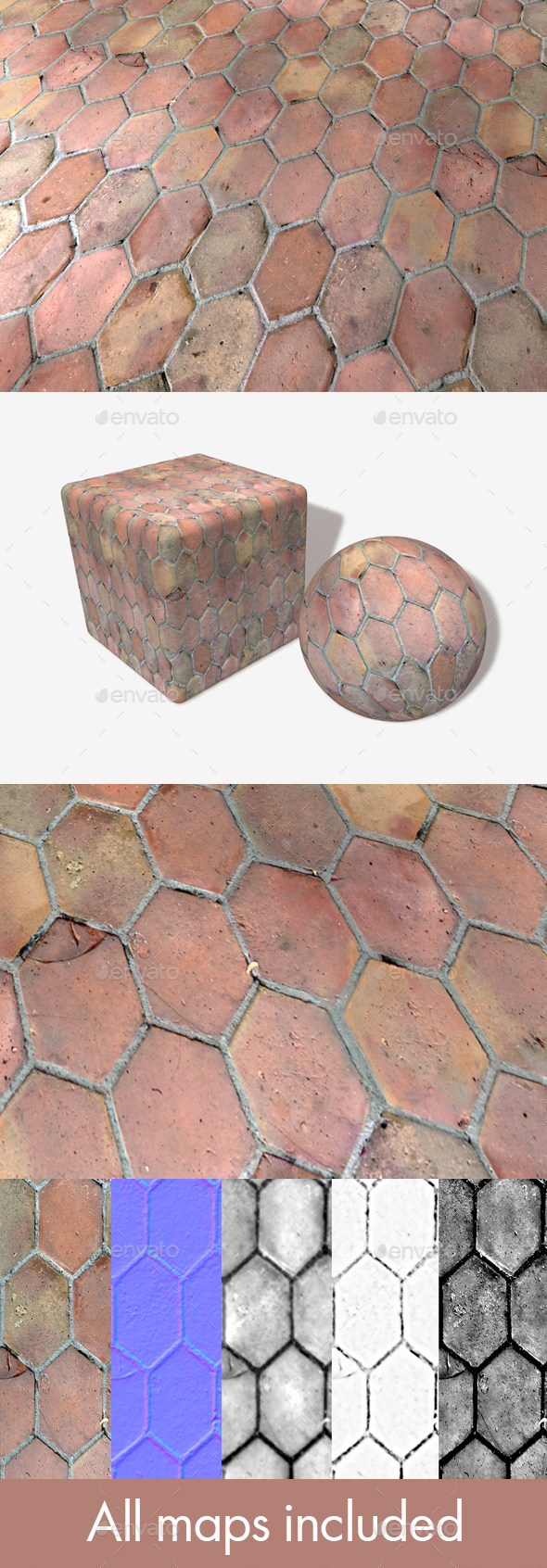 3DOcean Long Hexagon Old Floor Tiles 20498187