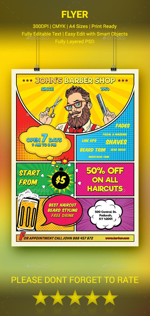 GraphicRiver Barber Shop Flyer 20498228