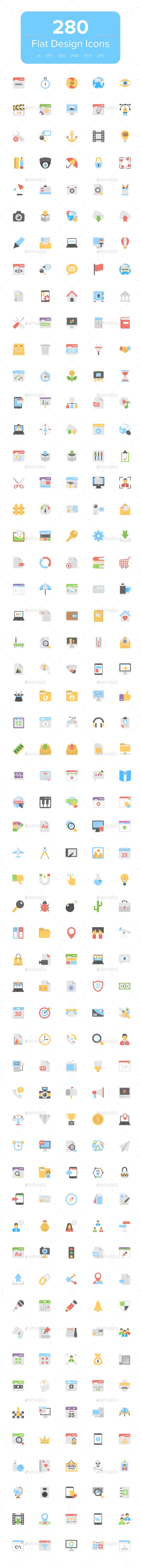 280 Flat Design Icons - Icons