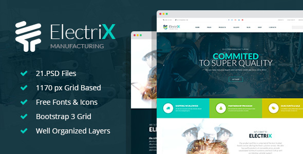 ElectriX - Industrial and Electronic Equipment Manufacturing PSD Template - Business Corporate