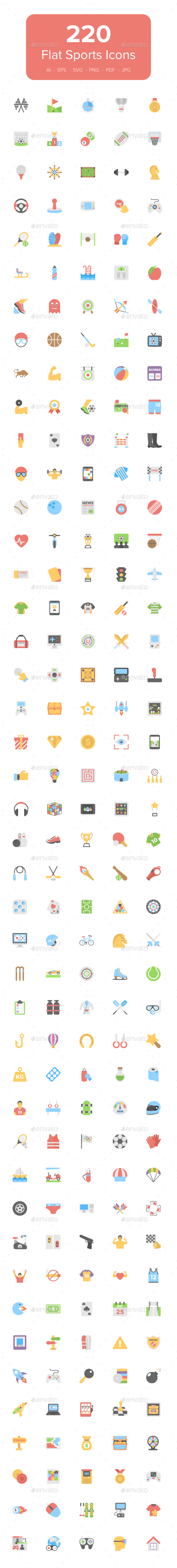 220 Flat Sports Icons - Icons
