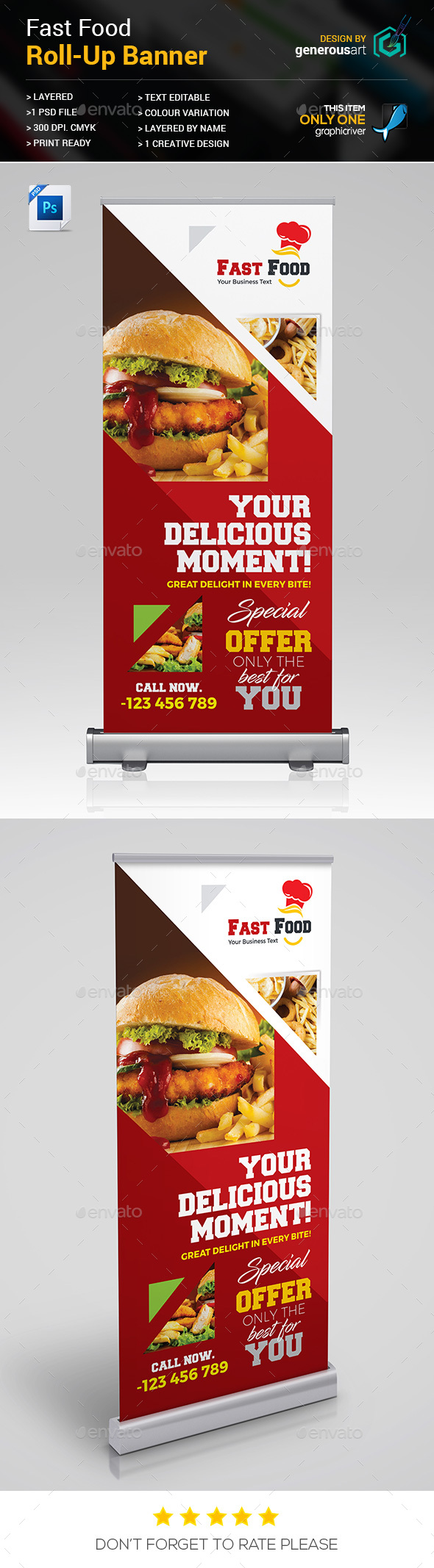 Fast Food Roll-up Banner - Signage Print Templates