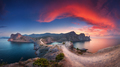 Panoramic landscape with mountains, sea and beautiful sky in sum