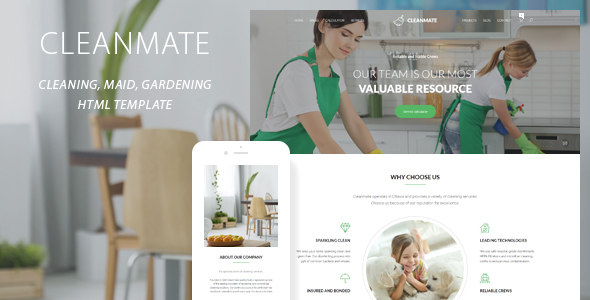 Image of CleanMate - Cleaning Company Maid Gardening Template