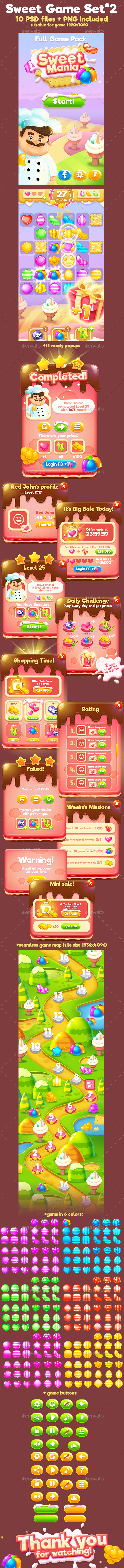 GraphicRiver Sweet Match-3 Full Game Pack 20498942