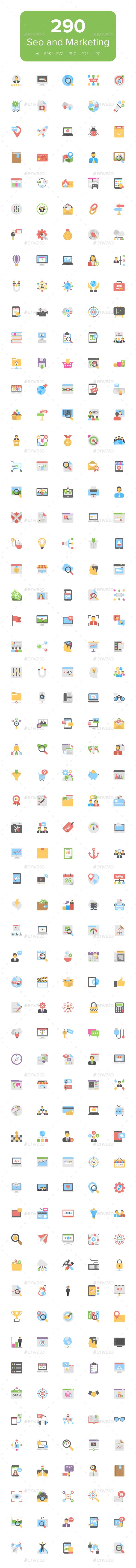 290 Flat Seo and Marketing Icons - Icons