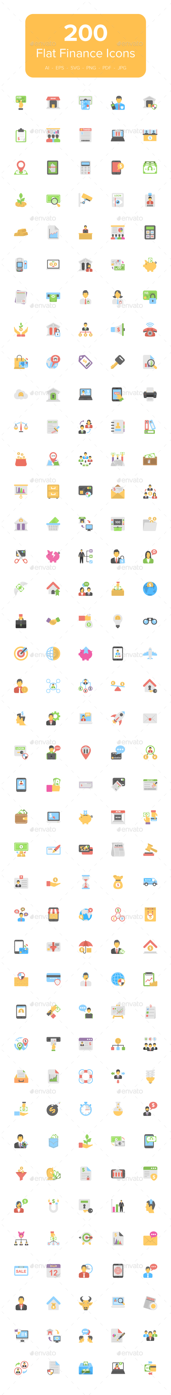 GraphicRiver 200 Flat Finance Icons 20499004