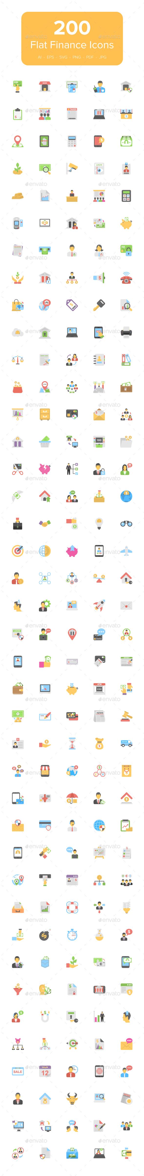 200 Flat Finance Icons - Icons