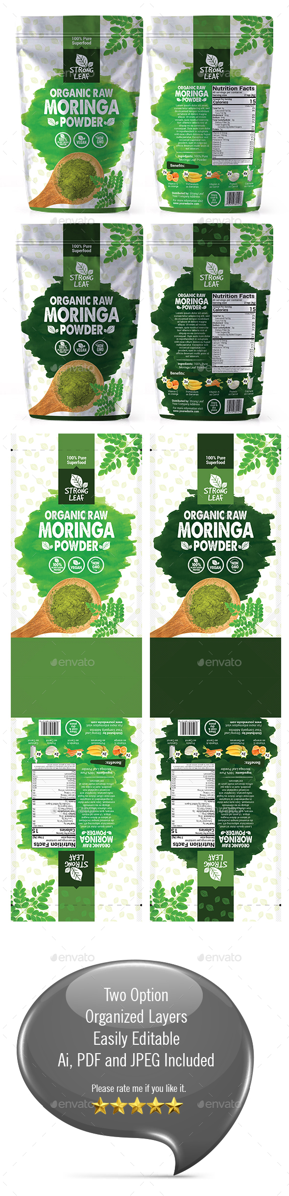 Moringa Powder Bag Packaging Template - Packaging Print Templates