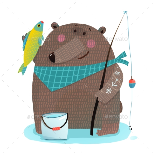Bear Fisherman with Fishing Rod Catching Fish - Animals Characters