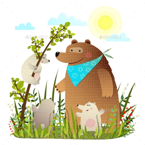 Mother Bear with Cubs in Wild Forest - Animals Characters