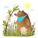 Mother Bear with Cubs in Wild Forest - GraphicRiver Item for Sale