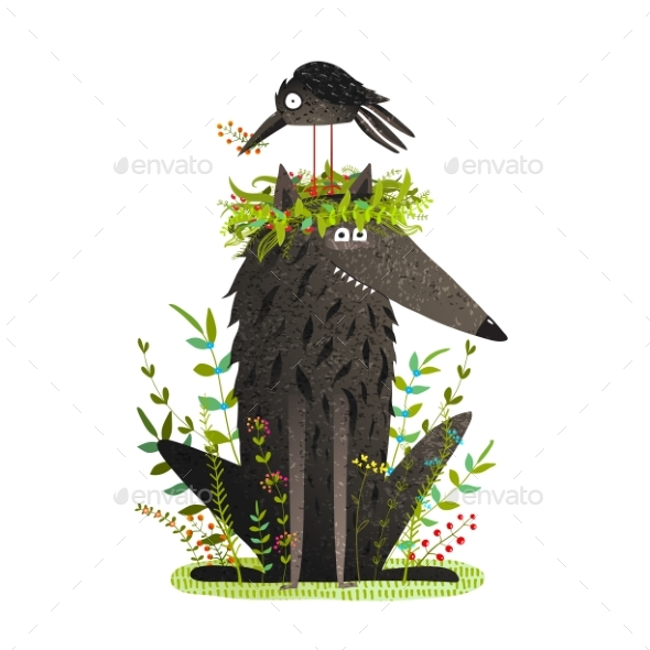Black Wolf and Crow Sitting on Head Friendship - Animals Characters