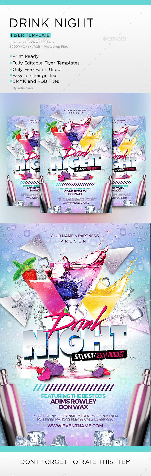 Drink Night Flyer Template - Clubs & Parties Events