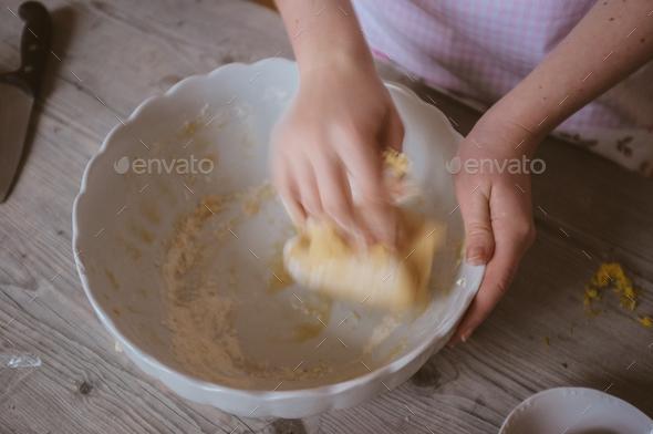 closeup of a woman artisan baker preparing dough at home - Stock Photo - Images