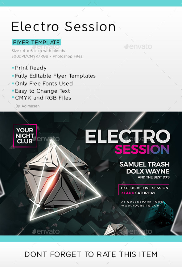 Electro Session Flyer Template - Clubs & Parties Events
