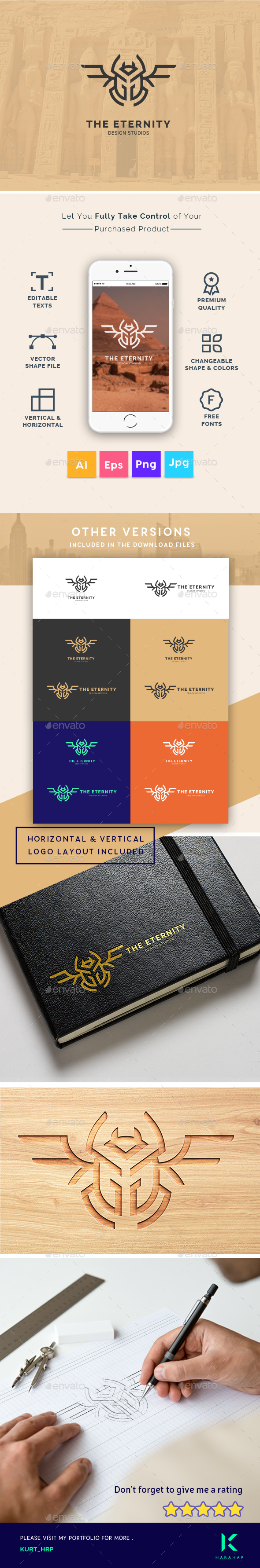 GraphicRiver The Eternity Scarab Beetle Insect symbol Creative Logo Template 20493637
