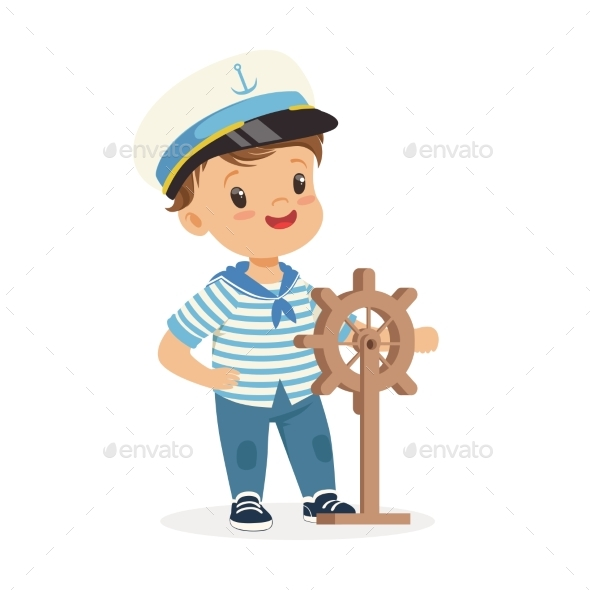 Smiling Boy Character Wearing a Sailor Costume - People Characters