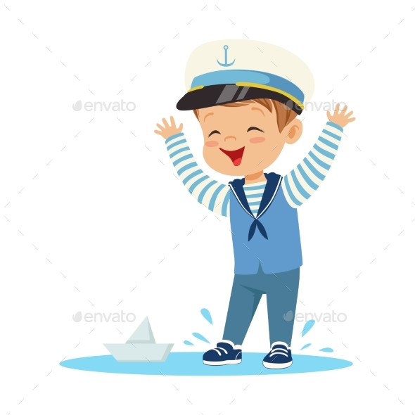 Smiling Little Boy Character - People Characters