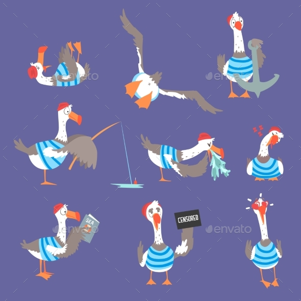 Cartoon Seagulls with Different Poses and Emotions - Animals Characters