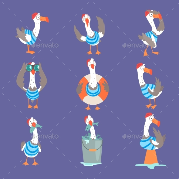 GraphicRiver Cartoon Seagull Showing Different Actions 20499742