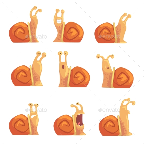 Cartoon Snails Showing Different Emotions - Animals Characters